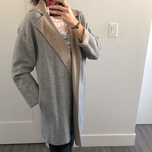 Grey and tan contrasting color sweater coat